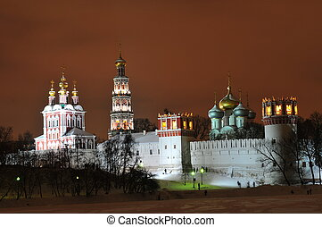 Novodevichy Convent at Night, Winter-time, Moscow -...