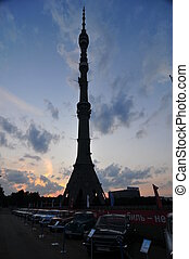 Ostankino Tower, television and radio tower in Moscow Shown...