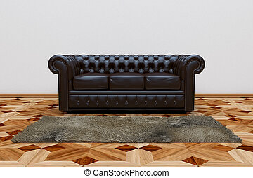 Black leather sofa - 3D render of black leather sofa and...