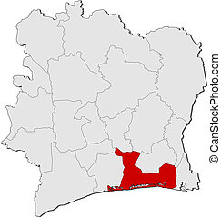 Map of Ivory Coast, Lagunes highlighted