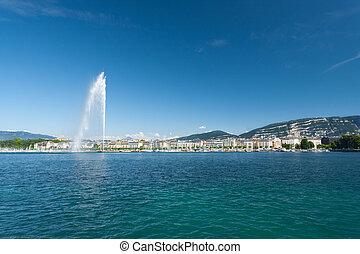 Jet D Eau Water Fountain Geneva Mountain - A beautiful view...