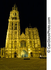 Antwerp Cathedral Front Night Square - The facade of the...