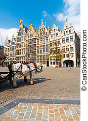 Antwerp GuildHouses Horses Daytime V - A pair of horses add...