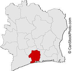 Map of Ivory Coast, Sud-Bandama highlighted - Political map...