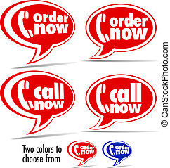 Call now, Order now speech bubbles