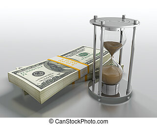 Time is money - 3D render of hourglass and dollar stack on...