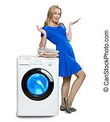 a, Feliz, jovem, mulher, Novo, lavando, máquina