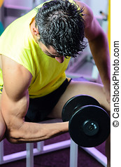Pumping Biceps - Training biceps with dumbbell in gym.