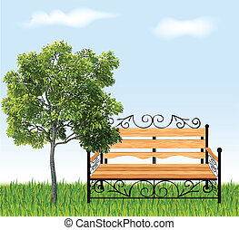 Bench with tree and grass. Vector illustration - A bench...