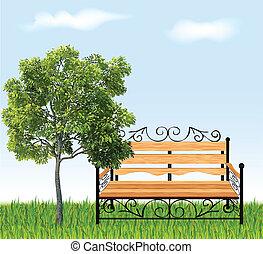 ława, drzewo, trawa, Wektor, Ilustracja