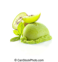 Tropical kiwi icecream dessert with delicious creamy green...