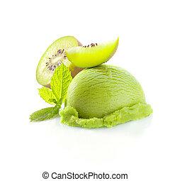 Tropical kiwi icecream dessert with delicious creamy green...