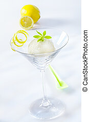 Appetizer of lemon sorbet - Appetizer of tangy refreshing...