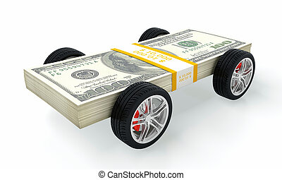 Money car - 3D render of money car on white background