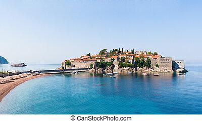 Sveti Stefan island panorama, Montenegro