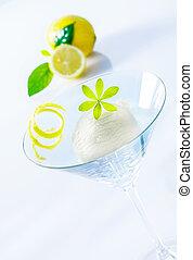Refreshing lemon sorbet cocktail
