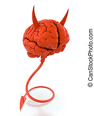 Evil mind - 3D render of red devil brain on white background