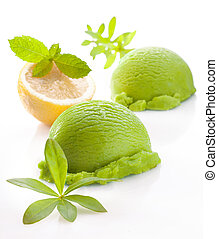 Fresh green lemon or lime icecream
