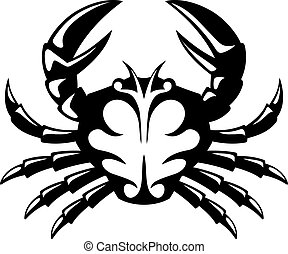 Crab icon - Black and white tribal icon of a crab