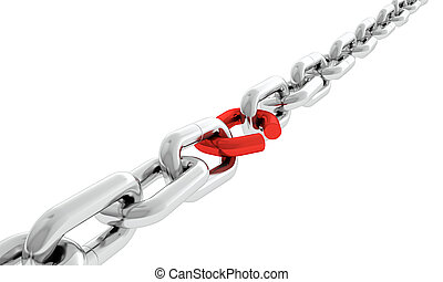 Weakness - Steel chain with one red broken chain link...