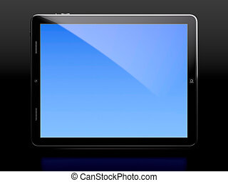 Tablet computer with blue screen isolated on black...