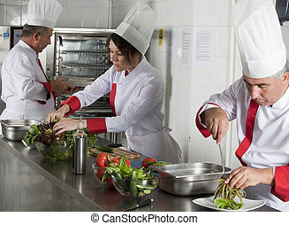 professional chefs - group of young beautiful professional...