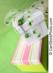 Striped Gift Box - Pink gift box and white box with ribbon...