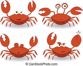 Red Crabs Characters - Illustration of a set of cartoon...
