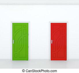 Red and green door - 3D render of red and green door in...