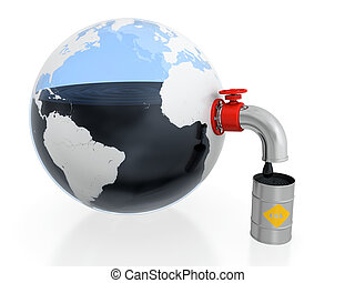 Oil extraction - 3D illustration of oil extraction from...