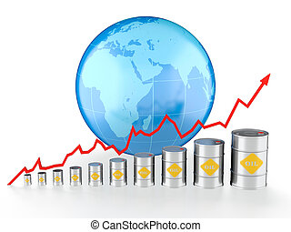 Oil chart - 3D illustration of growing oil chart with Earth...