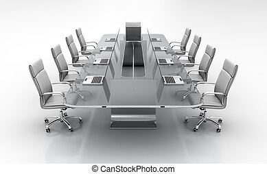 Conference table - 3D render of conference table from glass...