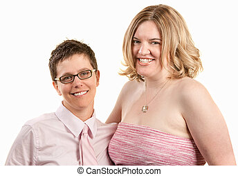 Two Friendly Women - Two friendly young women isolated over...