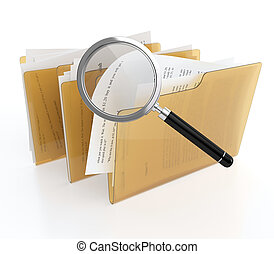 Files search - 3D illustration of folder with files and...
