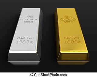 Gold and platinum ingots - 3d render of gold and platinum...