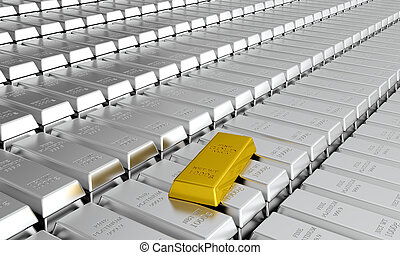 Platinum bars - 3d render of platinum ingots with one gold...