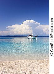Fishing boat in the Ionian sea in Lefkada Greece