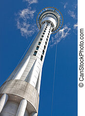 Auckland sky tower, base view with blue sky The tallest...