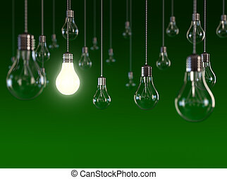 Light bulb - Hanging light bulbs with glowing one isolated...