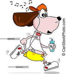 Cartoon dog jogging