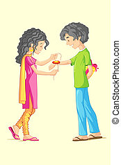 Raksha Bandhan - illustration of brother and sister tying...