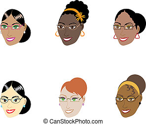 Smart Women Faces - Vector Illustration of six different...