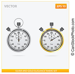 silver and gold vector elegance timers