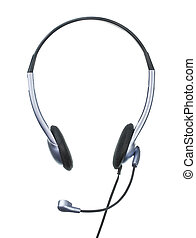 Typical Headset - headset, phohes with microphone, isolated...