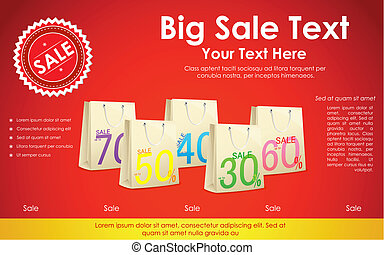 Sale Background with Shopping Bag - illustration of...