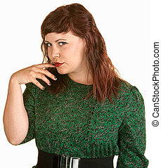 Skeptical Lady With Finger in Mouth - Skeptical woman with...