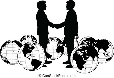Business people agreement global handshake