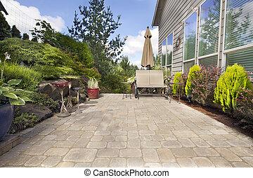 quintal, paver, pátio, jardim, acessórios