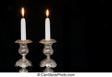 Two antique, silver candlesticks for the Jewish Sabbath -...