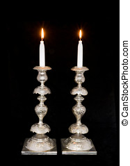 Jewish sabbath antique silver candlesticks - Two lighted...